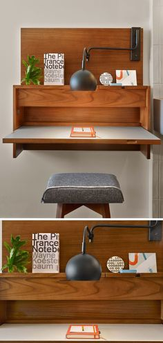 This small wall mounted desk was included in the design of a hotel room.