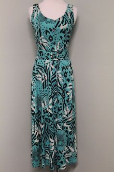 15e20971566 Details about Vintage Carol Anderson 5 6 Turquoise Cat Animal Print Belted  80 s Midi Dress USA