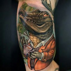 Check out this awesome alligator by Lindsay Baker (@lindsaybugbaker) She is a resident artist at Niteowl Tattoo Massachusetts (@niteowltattoomass) and guest artist here at Niteowl Tattoo Northwest!  Want tattooed by this artist? Simply email niteowltattoomass@gmail.com to get on the books!