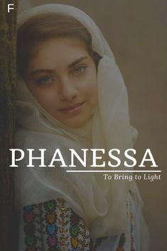 Phanessa meaning To Bring to Light #babynames #characternames #pnames #girlnames Pretty Names, Cute Baby Names, Unique Names, Cool Names, Character Name Generator, Best Character Names, Magic Names, Egyptian Names, Goddess Names