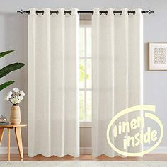 """jinchan Linen Curtains for Living Room Drapes Flax Window Curtain Panels for Bedroom 1 Pair 63"""" Crude   CountryCurtains Living Room Drapes, Home Curtains, Linen Curtains, Window Curtains, Curtain Panels, Country Curtains Catalog, Curtains How To Choose, Corner Window Treatments, White Sheer Curtains"""