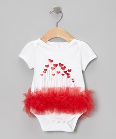 Look what I found on #zulily! Bubby & Belle White & Red Heart Balloon Ruffle Bodysuit - Infant by Bubby & Belle #zulilyfinds