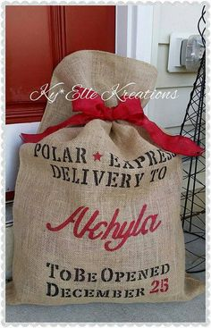 Made from 100% Jute Burlap with a hand stenciled Polar Express Delivery complete with your littles name in your choice of color. Bag measures