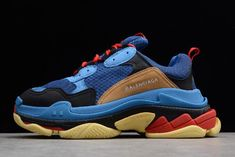 13a21ac68a0e Men s Balenciaga Triple S Trainer Sneaker Royal Blue Black-Red-Brown For  Sale