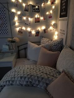 Image via We Heart It https://weheartit.com/entry/176269235 #bed #bedroom #bright #cozy #cute #decoration #girl #home #interior #lights #photography #room #white