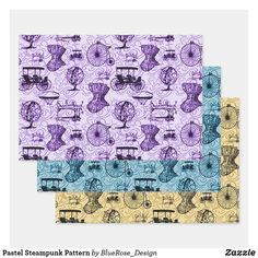 Pastel Steampunk Pattern Wrapping Paper Sheets
