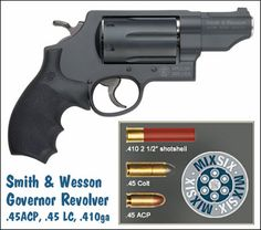 If you're looking for a versatile carry revolver, consider the new Smith & Wesson Governor, introduced at the 2011 SHOT Show. The six-shot Governor will chamber three types of ammo: ACP, Long Colt, and shotshells. Smith And Wesson Revolvers, Smith N Wesson, Weapons Guns, Guns And Ammo, Home Defense, Self Defense, Rifles, Smith And Wesson Governor, Bushcraft