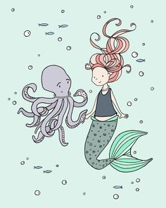 Mermaid Nursery Art -- Mermaid And Octopus Buddies - Under The Sea Nursery Decor. Mermaid Nursery Art: Here at Sweet Melody Designs we love creating cute art for your little ones rooms. We believe in encouraging the imagination of children and giving them a beautiful place to grow up. It is our hope that our art can have a small part in that wonderful experience. This is a print of an original piece of art created by Sweet Melody Designs. It is a giclee print printed on high quality...
