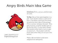 Busy Bee Speech: Angry Birds Teach Main Idea: Lesson & Game Freebies!