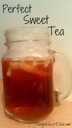 Perfect Southern Sweet Tea Recipe, 6 regular tea bags, 1/8 tsp baking soda, 2 cups boiling water, 1 1/2 cups sugar & 6 cups cold water