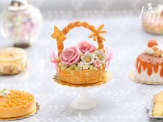 Pink Rose Summer Basket Cake - Miniature Food in 12th Scale for Dollhouse