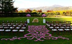 Pink Scroll Petals down the aisle.  Wedding of a dream! @Fleurs De France @Cole Drake Events