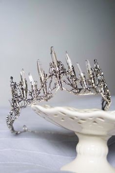 Crystal crown Raw quartz points silver tone tiara by moondomeuk
