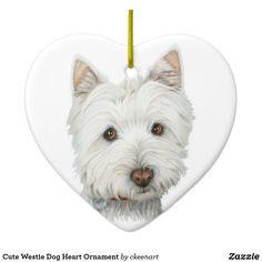 Cute Westie Dog Heart Ornament