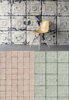 Seriously amazing...wall paper that looks like vintage tin ceiling tiles!