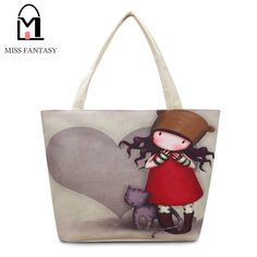 614e6056a1 Women Canvas Bag Girl Print Tote Bag New Year Gift Beach Bag Large Capacity  Women s Shopping