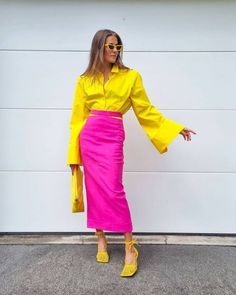 Autumn Fashion Casual, Spring Summer Fashion, Spring Outfits, Color Combinations For Clothes, Color Blocking Outfits, Colourful Outfits, Colorful Fashion, Short Branco, Bruna Marquezini
