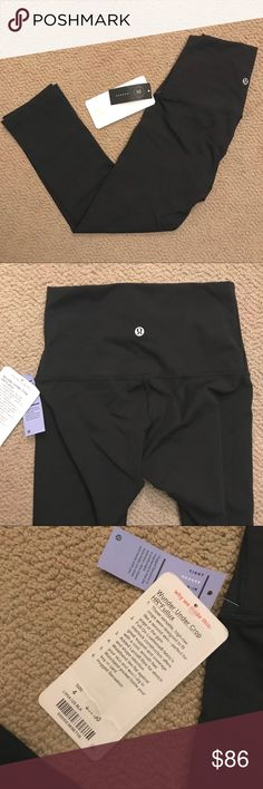 """Lululemon High Rise Wunder Under Crop 21"""" Black Hi-Rise Wunder Under Crop Leggings from Lululemon, size 4, 21"""" inseam. New with tags. Price firm (you save a few bucks as well as on tax you'd pay if you purchased at Lulu). lululemon athletica Pants Leggings"""