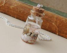 Shells Bottle Necklace Resin Jewelry Shell by JustKJewellery