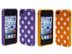 Combo 2in1 Purple Orange Polka Dot Flex Gel Case for Iphone 4 and 4S,$1.99