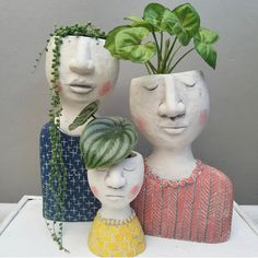 head planters lady planters girl planters woman planters for houseplantsWhen you have plants on the brain 🧠🤣 Repost from using - So in love with this trio from…Your styling is always impeccable. Thanks for sharing your new family portrait Pot Face Planters, Ceramic Planters, House Plant Care, House Plants, Ceramic Pottery, Ceramic Art, Sculpture Romaine, Decoration Plante, Clay Art