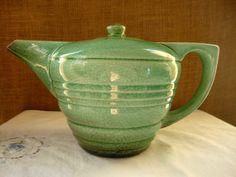 VINTAGE GREEN POTTERY Ceramic Teapot Art Deco by Poppycbrilliant