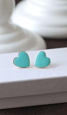 Heart Stud Earrings Robin Egg Blue Tiffany Blue Heart