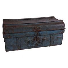 Iron travel trunk blue