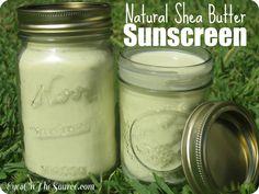how to make shea butter sunscreen - shea butter, olive oil, coconut oil, vitamin E, zinc oxide.  Looks easy!