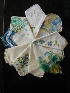 Lot of 10 Vintage Handkerchiefs Hankies by eveeting on Etsy...again, these invoke an old world shabby elegance that I want for my sweet girl's room.