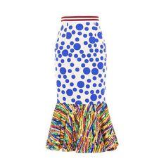 Stella Jean Berta printed midi skirt (15,615 DOP) ❤ liked on Polyvore featuring skirts, bottoms, blue print, stripe skirt, flared midi skirt, knee length flared skirts, flared skirt and blue polka dot skirt