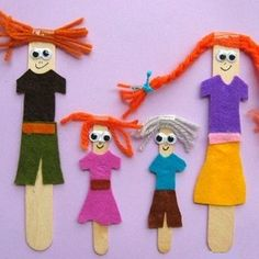 puppets from sticks Kids Crafts, Winter Crafts For Kids, Family Crafts, Doll Crafts, Toddler Crafts, Preschool Crafts, Decor Crafts, Art For Kids, Paper Crafts