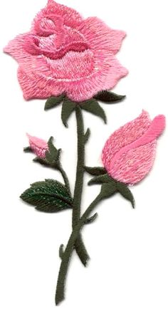 Silk Ribbon Embroidery Flowers Rose - Pink Rose - Flower - Shimmering Embroidered Iron On Applique - Learn Embroidery, Rose Embroidery, Silk Ribbon Embroidery, Embroidery Applique, Embroidery Thread, Hand Embroidery Tutorial, Hand Embroidery Patterns, Machine Embroidery Designs, Patch Aplique