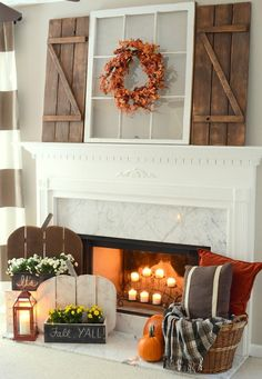DIY Wood Pumpkins and Barn Wood Shutter Mantel - 14 Cozy Fall Fireplace Decor Id. - DIY Wood Pumpkins and Barn Wood Shutter Mantel – 14 Cozy Fall Fireplace Decor Ideas to Steal Right - Rustic Fall Decor, Fall Home Decor, Autumn Home, Diy Home Decor, Room Decor, Wall Decor, Home Decoration, Western Decor, Decor Crafts