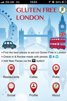 Gluten Free London app for iPhone, Blackberry & Android.