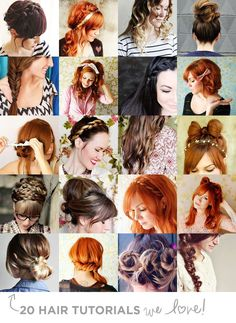 "20 Hair Tutorials We Love! All archived into one with links to diy steps by ""A Beautiful Mess""'s blog. I love the side braid and the flat iron curls. Might be the only hair pin that I need from now on."