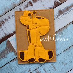 Giraffe On-the-Go Felt Puzzle with Storage Pouch by craftEdaze
