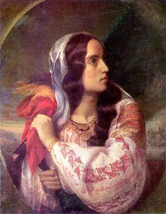 The Romanian Blouse: Revolutionary Romania (portrait of Maria Rosetti) by Constantin Daniel Rosenthal 1848 Romanian Flag, Romanian Girls, National Symbols, Art Database, Art Images, Art History, Folk Art, Art Gallery, My Arts