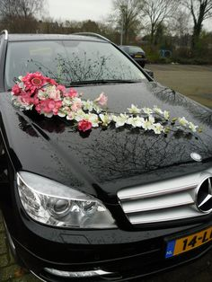 Long Floral Arrangement Decoration For Wedding Car - Silk Roses, Giant Gerbera and Orchids - MyStyles Wedding Car Decorations, Flower Decorations, Wedding Cars, Floral Wedding, Wedding Flowers, Wedding Dresses, Bridal Car, Decoration Stickers, Girly