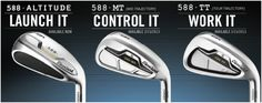 Cleveland Golf's new range of 588 Irons for 2013. A fully interchangeable range so that you can match up your perfect set to your game Wilson Golf Clubs, Cleveland Golf, Golf Putters, Golf Shop, Golf Irons, Golf Ball, Range, Sports, Hs Sports