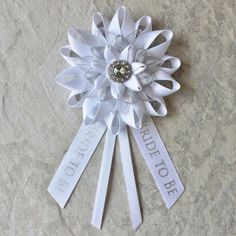 Bride to Be Pin, Bride Corsage, Bride to Be Gift, Bridal Shower Decorations, Bride to Be Ribbon, Bachelorette Party Decor, New Bride Gift by PetalPerceptions on Etsy https://www.etsy.com/listing/243757231/bride-to-be-pin-bride-corsage-bride-to
