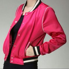 """LISTING PINK ATHLETIC JACKET BY MOON COLLECTION There here! ❤️ Love them even more once I could feel the beautiful fabric. Size Large 42"""" bust 22"""" length 24"""" sleeve and the sleeve circumference is  14 inches. Fabric: self- 100% polyester Rib- 97% polyester 3% spandex. Hand wash this cutie in cold water. Limited quantities of Small and Medium also available in our closet. No trades or PayPal. Thank you for visiting us @treasuresbytrac photos used with permission by MoonCollection Moon…"""