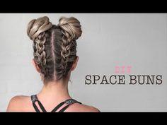 "Double Bun - ""Space Buns"" - Upside down Dutch Braid DIY - YouTube"