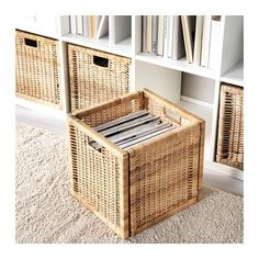 BRANÄS Basket - rattan - IKEA / Dimensioned to fit KALLAX shelf unit. Protective pads underneath.