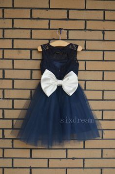 Navy Lace Flower Girl Dress ivory sash/bow Country by sixdream