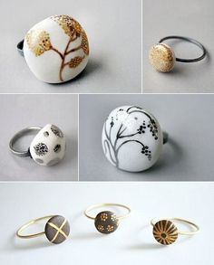 White and chocolate porcelain with silver and gold. Rings by Spain's Pilar…