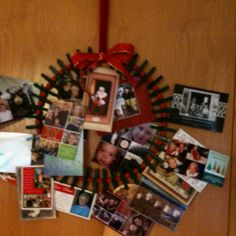 Clothes pin wreath for Christmas cards!