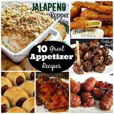 Jalapeño Popper Dip:  My number one appetizer recipe!  Always a hit, bring a copy of the recipe along, they'll want it! Honey Garlic Wings:  Sweet and sticky oven baked wings! Amazing Cocktail Meatballs:  I've been making these for as long as I can...