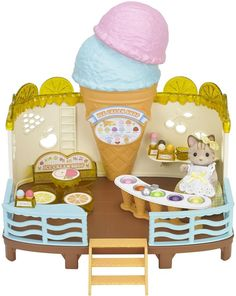 Superb Sylvanian Families Seaside Ice Cream Shop Now At Smyths Toys UK! We Stock A Great Range Of Fashion & Dolls At Great Prices. Sylvanian Families, Toys For Girls, Kids Toys, Muñeca Baby Alive, Rocking Bench, Calico Critters Families, Doll Toys, Dolls, Mini Things