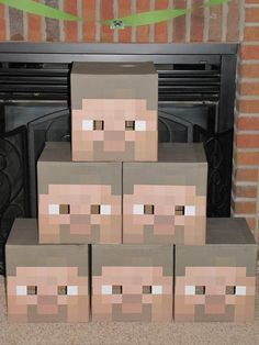 Steve head masks. The blog has great ideas for a Minecraft party.